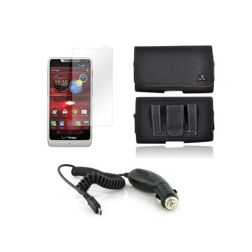 Motorola Droid RAZR M Essential Bundle Package w/ Premium Horizontal Leather Pouch, Screen Protector, &  Car Charger