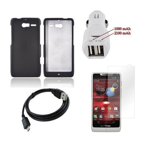 Motorola Droid RAZR M Essential Bundle Package w/ Black Rubberized Hard Case, Car Charger, & Screen Protector
