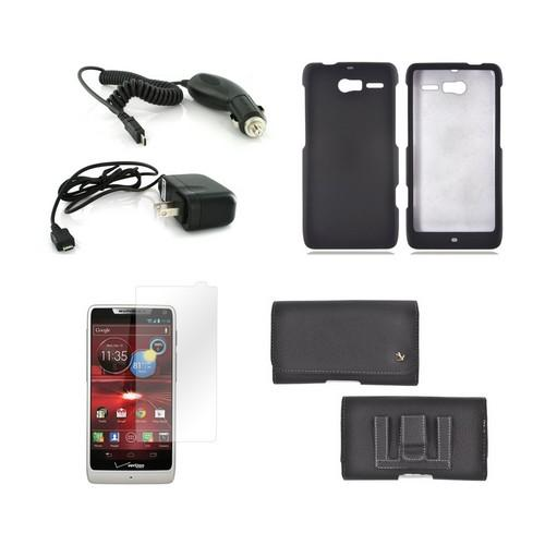 Motorola Droid RAZR M Essential Bundle Package w/ Premium Horizontal Pouch, Black Rubberized Hard Case, Car Charger, Travel Charger, & Screen Protector