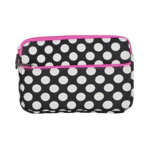 "Original Kroo USA Universal (Up to 7"" Tablets like Kindle Fire/ Nook Tablet) Neoprene Sleeve Case, ND07PGW1 - White Polka Dots on Black w/ Hot Pink Zippers"