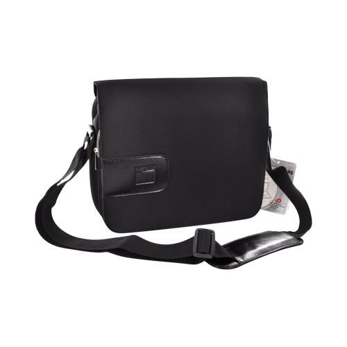 "Original Kroo 10.2"" Notebook Nylon Messenger Bag w/ Leather Trim & Magnetic Closure, ND10BG03 - Black"