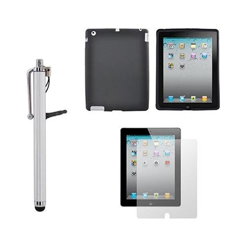 New Apple iPad Essential Bundle w/ Black Silicone Case, Screen Protector, & Silver Pen Stylus