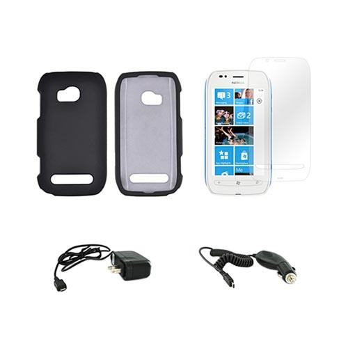 Nokia Lumia 710 Essential Bundle Package w/ Black Rubberized Hard Case, Screen Protector, Car & Travel Charger