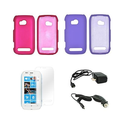 Nokia Lumia 710 Essential Bundle Package w/ Rose Pink & Purple Rubberized Hard Case, Mirror Screen Protector, Car & Travel Charger