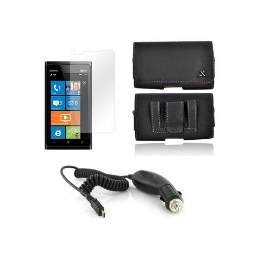 Nokia Lumia 900 Essential Girly Bundle Package w/ Premium Horizontal Leather Pouch, Screen Protector, &  Car Charger