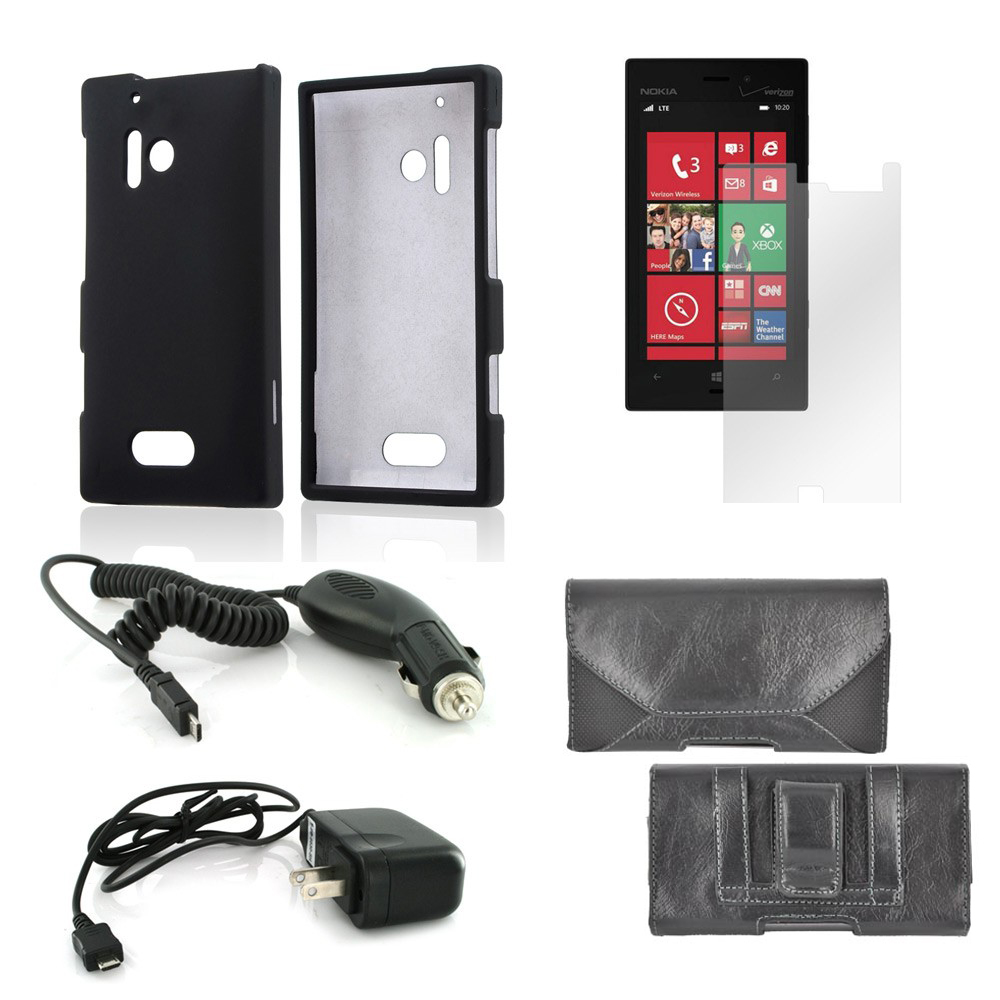 Essential Bundle Package w/ Black Rubberized Hard Case, Screen Protector, Leather Pouch, Car & Travel Charger for Nokia Lumia 928