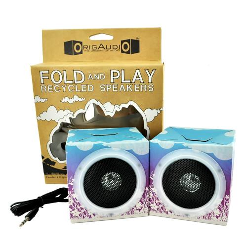 Original OrigAudio Premium Fold N' Play Recycled Speakers 3.5mm - Purple Flowers Design