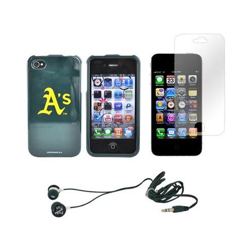 AT&T/ Verizon Apple iPhone 4, iPhone 4S Oakland A's Bundle w/ A's Hard Case, A's Earbuds, & Anti-Glare Screen Protector
