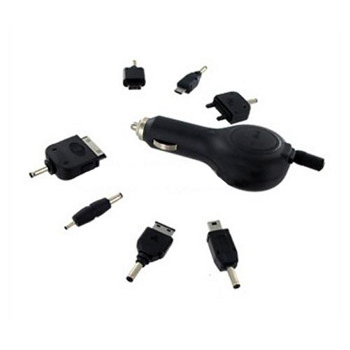 Universal Retractable Car Charger w/ 7 Different Connectors