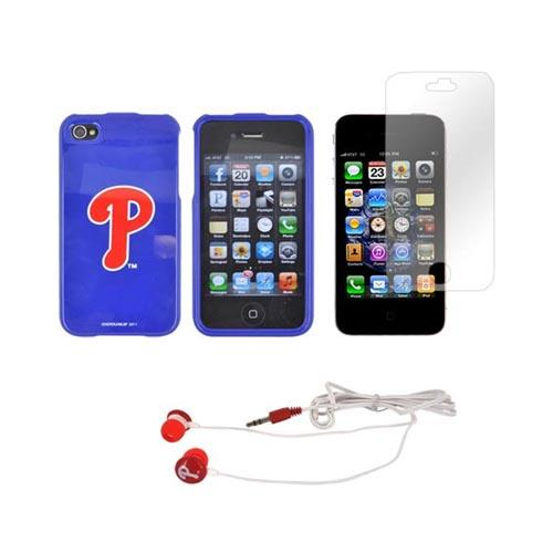 AT&T/ Verizon Apple iPhone 4, iPhone 4S Philadelphia Phillies Bundle w/ Phillies Hard Case, Phillies Earbuds, & Anti-Glare Screen Protector