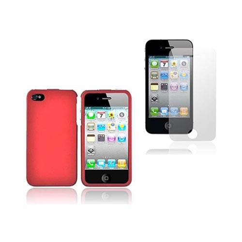 Apple iPhone 4/4S Combo Package w/ Red Rubberized Hard Case & Clear Anti-Microbial Screen Protector