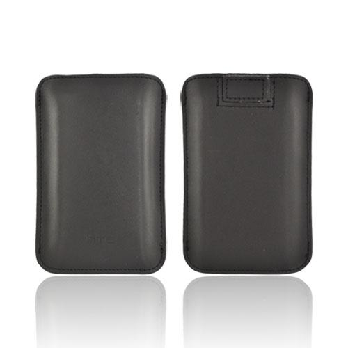 Original HTC Universal Vertical Leather Pouch w/ Pull-Out Tab, PO S550 - Black
