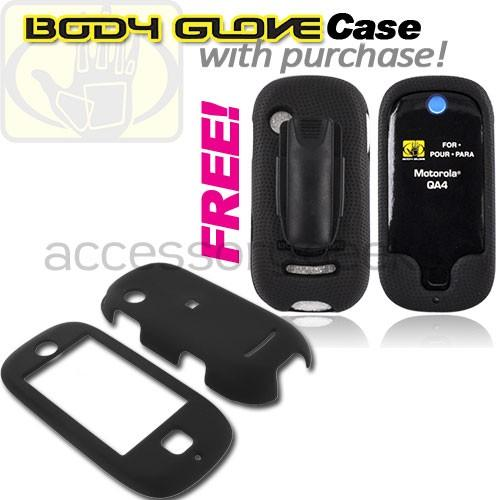 Motorola Evoke QA4 Rubberized Hard Case - Black (FREE Body Glove Case CRC90962)