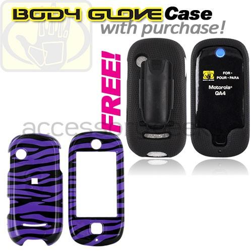Motorola Evoke QA4 Hard Case - Purple Zebra (FREE Body Glove Case CRC90962)
