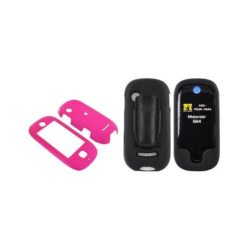 Motorola Evoke QA4 Case Combo (Hard Case & Body Glove) - Rubberized Hot Pink