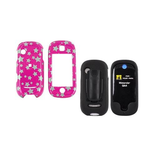 Motorola Evoke QA4 Case Combo (Hard Case & Body Glove) - Silver Stars on Pink