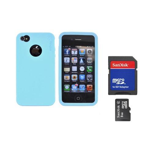 Original Rearth Bundle w/ Apple iPhone 4S Ringke Sky Blue Silicone Case & 8GB Micro SDHC Memory Card w/ SD Card Adapter