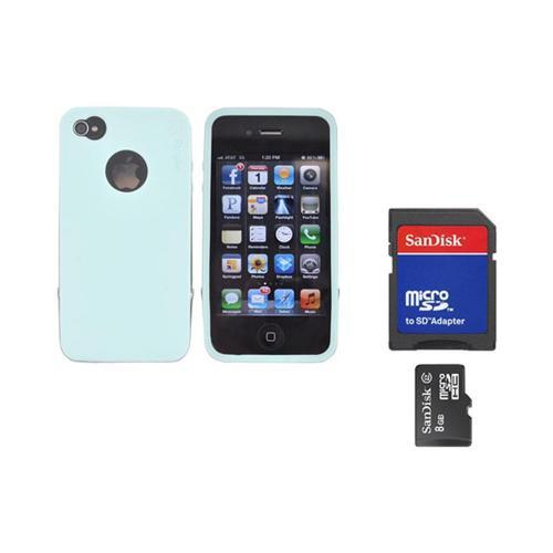 Original Rearth Bundle w/ Apple iPhone 4S Ringke Steel Mint Silicone Case w/ Steel Bumper, Lanyard, Screen Protector, & 8GB Micro SDHC Memory Card w/ SD Card Adapter