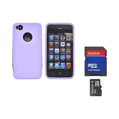 Original Rearth Bundle w/ Apple iPhone 4S Ringke Steel Purple Silicone Case w/ Steel Bumper, Lanyard, Screen Protector, & 8GB Micro SDHC Memory Card w/ SD Card Adapter