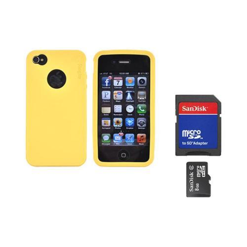 Original Rearth Bundle w/ Apple iPhone 4S Ringke Mango Yellow Silicone Case & 8GB Micro SDHC Memory Card w/ SD Card Adapter