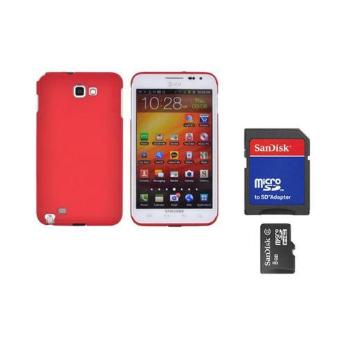 Original Rearth Bundle w/ Samsung Galaxy Note Ringke Red Slim Hard Case w/ Screen Protector & 8GB Micro SDHC Memory Card w/ SD Card Adapter