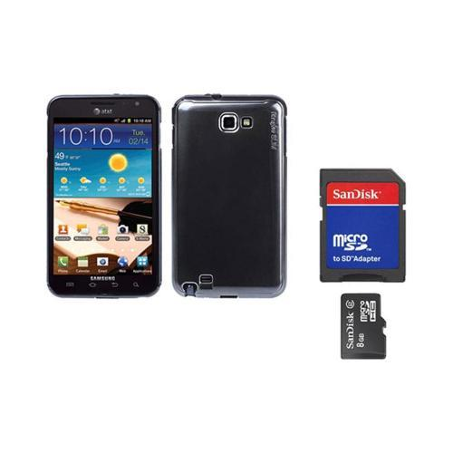 Original Rearth Bundle w/ Samsung Galaxy Note Ringke Metallic Gray Slim Hard Case w/ Screen Protector & 8GB Micro SDHC Memory Card w/ SD Card Adapter