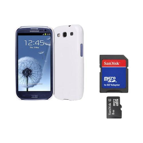 Original Rearth Bundle w/ Samsung Galaxy S3 Ringke Alpine White Slim Hard Case w/ Screen Protector & 8GB Micro SDHC Memory Card w/ SD Card Adapter