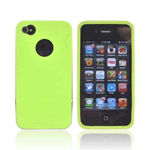 Original Rearth Apple iPhone 4S Ringke Steel Silicone Case w/ Steel Bumper, Lanyard & Screen Protector - Lime Green