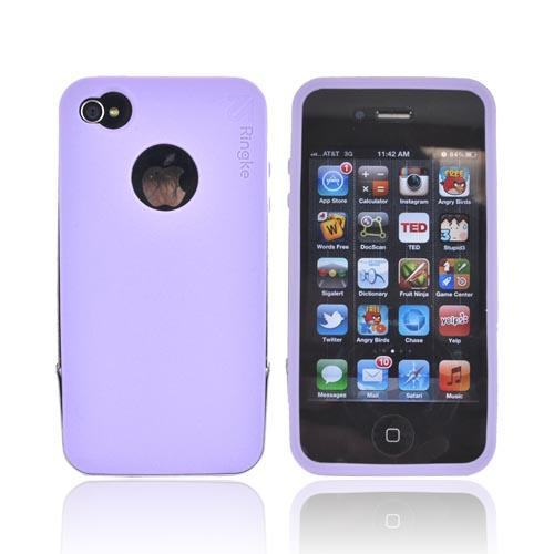 Original Rearth Apple iPhone 4S Ringke Steel Silicone Case w/ Steel Bumper, Lanyard & Screen Protector - Purple