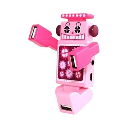 Robot USB HUB w, 4 Ports and LED Eyes (2.0 Hi-Speed) Mini USB Cable Included - Pink
