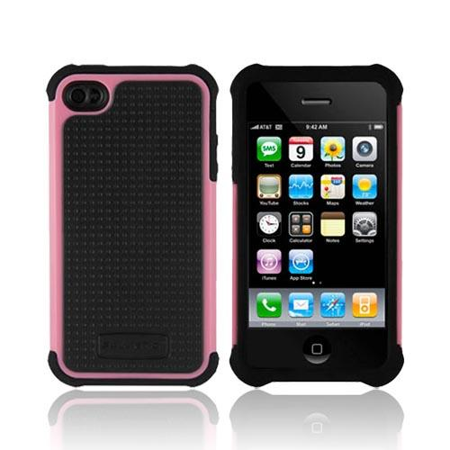 Original Ballistic AT&T/ Verizon Apple iPhone 4, iPhone 4S SG Hard Case on Silicone, SA0582-M365 - Baby Pink/ Black