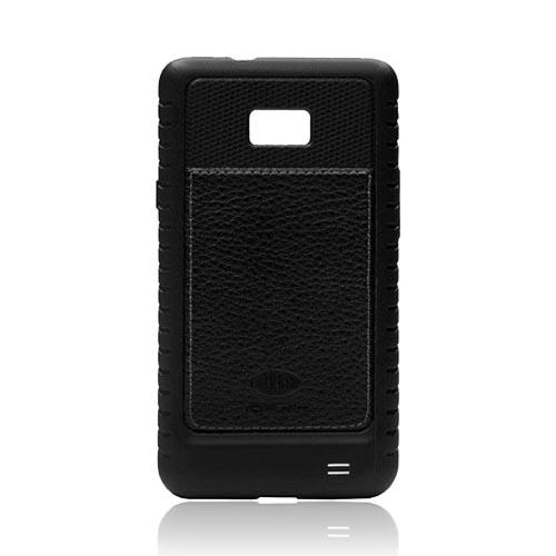 Original AGF AT&T Samsung Galaxy S2 Magnate Leather on Crystal Silicone Case, SA0757-9005 - Black