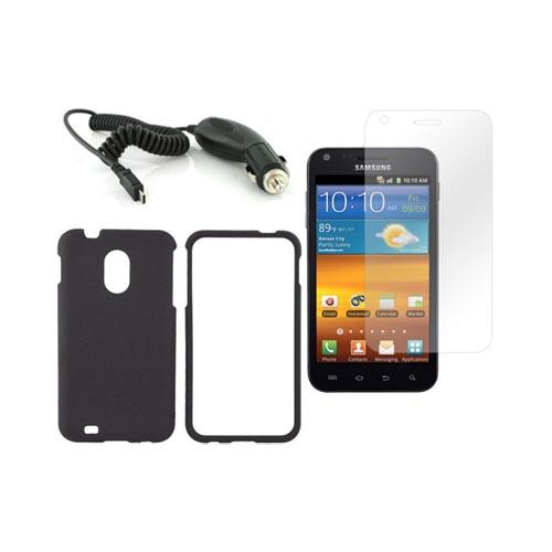 Samsung Epic 4G Touch Basic Bundle Package w/ Black Rubberized Hard Case, Screen Protector, and Car Charger