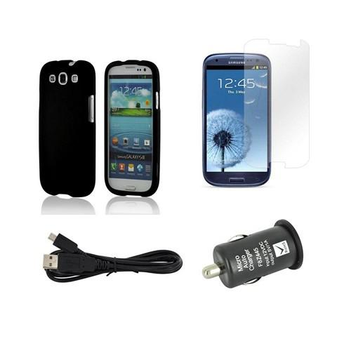 Essential Bundle Package w/ Black Rubberized Hard Case, Screen Protector, Micro USB Data Cable, & Black USB Port Car Charger Adapter for Samsung Galaxy S3