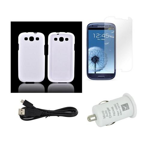 Essential Bundle Package w/ White Rubberized Hard Case, Screen Protector, Micro USB Data Cable, & White USB Port Car Charger Adapter for Samsung Galaxy S3