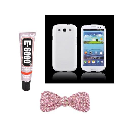 Samsung Galaxy S3 DIY Essential Bundle w/ Glossy White Ultra Slim Hard Case, Pink Bling Bow, & E-6000 Glue