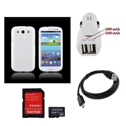 Samsung Galaxy S3 Essential Bundle w/ Ultra-Premium Glossy Snow White Hard Back Cover, Universal Dual USB Car Charger w/ Micro USB Data Cable, & 16GB Micro SDHC Memory Card w/ Adapter