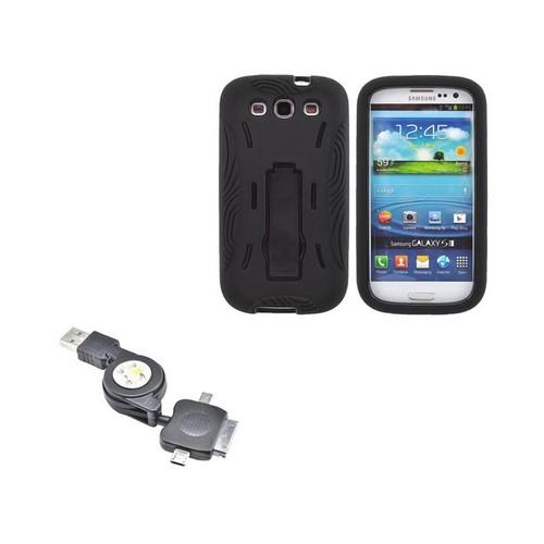 Samsung Galaxy S3 Essential Bundle w/ Black Silicone Over Hard Case w/ Kickstand & Universal USB to Micro USB/ Mini USB/ iPhone Retractable Data/ Charger Cable