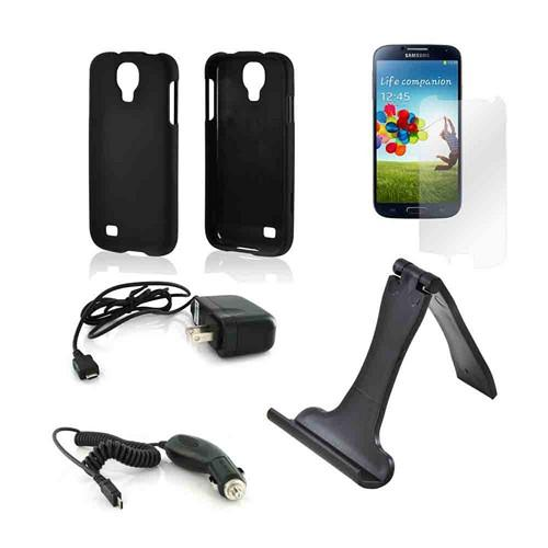 Essential Bundle Package w/ Black Rubberized Hard Case, Screen Protector, Portable Stand, Car & Travel Charger for Samsung Galaxy S4