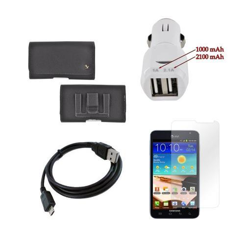 Samsung Galaxy Note Essential Bundle Package w/ Premium Horizontal Leather Pouch, Screen Protector, &  Trident Car Charger (3100 mAh)