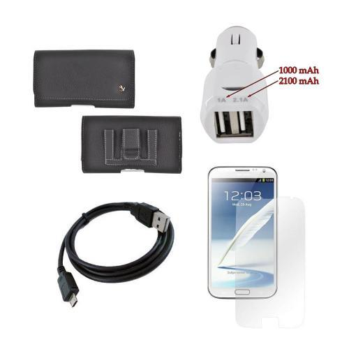 Samsung Galaxy Note 2 Essential Bundle Package w/ Premium Horizontal Leather Pouch, Screen Protector, &  Trident Car Charger (3100 mAh)