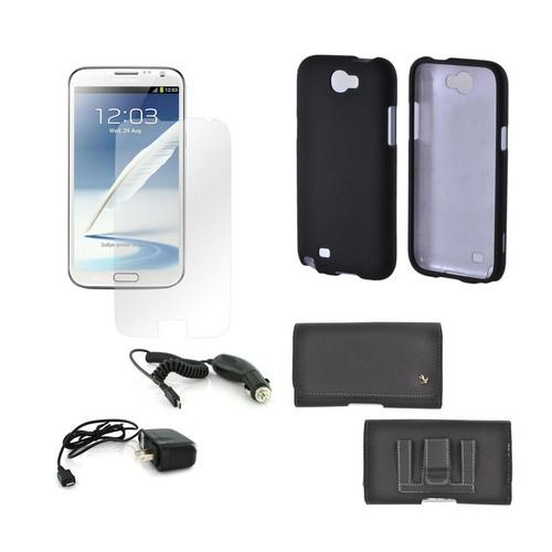 Samsung Galaxy Note 2 Essential Bundle Package w/ Premium Horizontal Pouch, Black Rubberized Hard Case, Car Charger, Travel Charger, & Screen Protector