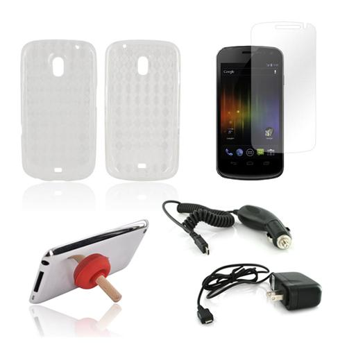Samsung Galaxy Nexus Essential Bundle Package w/ Clear Crystal Silicone Case, Screen Protector, Red Plunger Stand, Car & Travel Charger