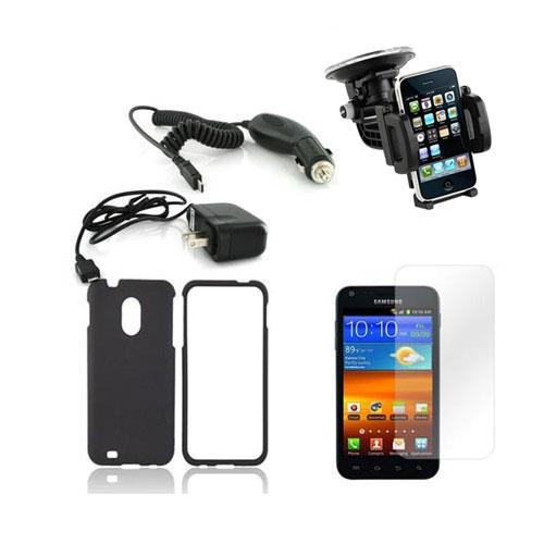 Samsung Galaxy Nexus Essential Bundle Package w/ Black Rubberized Hard Case, Screen Protector, Car & Travel Charger, Windshield Car Mount