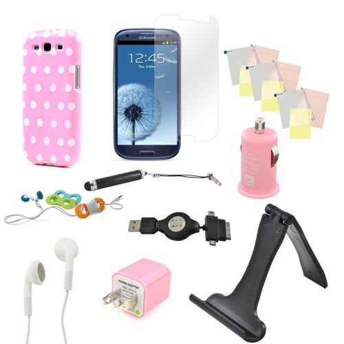 12 item Bundle w/ Baby Pink & White Polka Dot Crystal Silicone Skin Case, Baby Pink Car & Home USB Charger Adapters, 4 Screen Protectors, Retractable Data/ Charger Cable, Stand, Cable Organizers, Extendable Stylus, & Stereo Headset w/ Answer/ End Button f