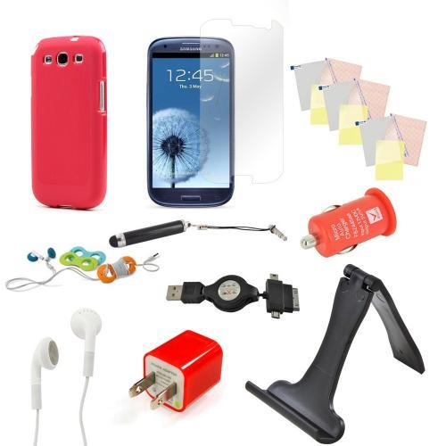 12 item Bundle w/ Red Crystal Silicone Skin Case, Red Car & Home USB Charger Adapters, 4 Screen Protectors, Retractable Data/ Charger Cable, Stand, Cable Organizers, Extendable Stylus, & Stereo Headset w/ Answer/ End Button for Samsung Galaxy S3