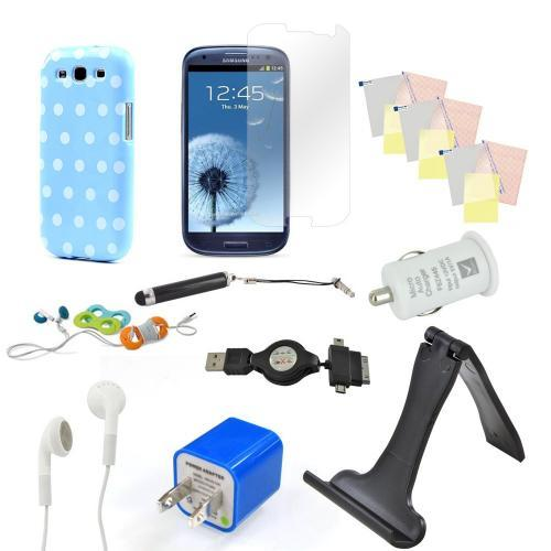 12 item Bundle w/ Sky Blue & White Polka Dot Crystal Silicone Skin Case, Car & Home USB Charger Adapters, 4 Screen Protectors, Retractable Data/ Charger Cable, Stand, Cable Organizers, Extendable Stylus, & Stereo Headset w/ Answer/ End Button for Samsung