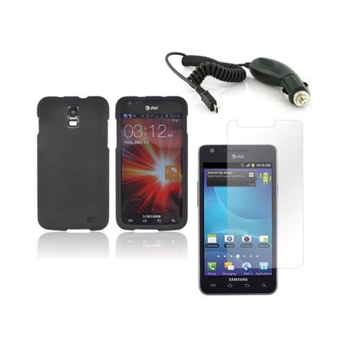 Samsung Galaxy S2 Skyrocket Basic Bundle Package w/ Black Rubberized Hard Case, Screen Protector, and Car Charger