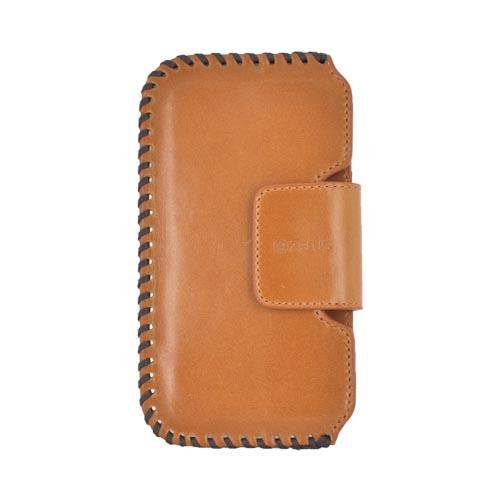 Original Zenus Samsung Galaxy S2 Prestige Handcrafted Stich Leather Pouch Case, SAGS2-PH5PO-CW - Camel Brown/ Black