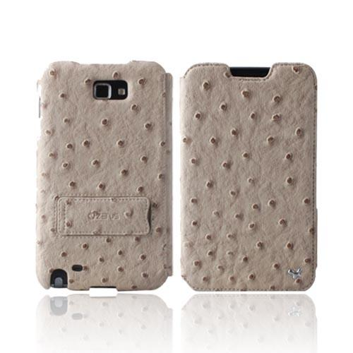 Original Zenus Galaxy Note Masstige Ostrich Diary Series Leather Case w/ ID Slots & Kickstand, SAGXN-MO5DY-BE - Beige